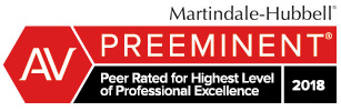 Martindale-Hubbell Preeminent Peer Rated for Hightest level of Professional Excellence 2018